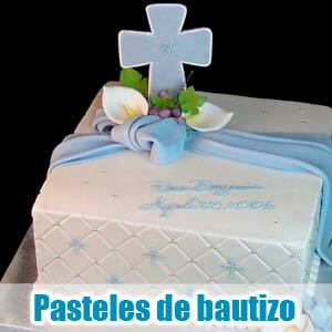 Imágen de pastel de bautizo azul